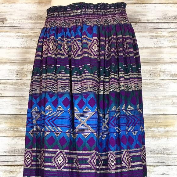 Vintage Dresses & Skirts - Vintage 80's 90's Purple Southwestern Print Skirt